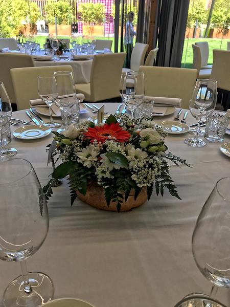 Decoración centro de mesa boda restaurante